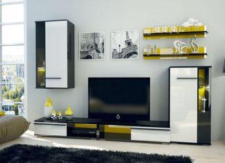 biało-czarne meble kolor ścian
