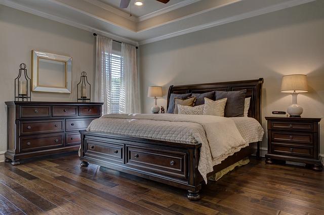 dębowe meble, sypialnia, kolor ścian,