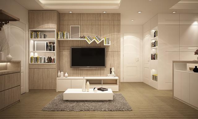jasne meble, beżowe, białe ściany