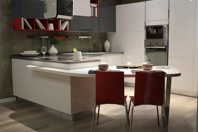 kuchnia, wyposażenie, beton, biel i szarość