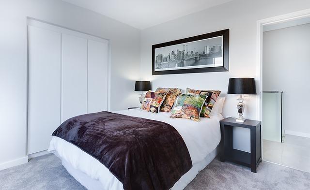 sypialnia, białe meble, minimalistyczna, nowoczesna,