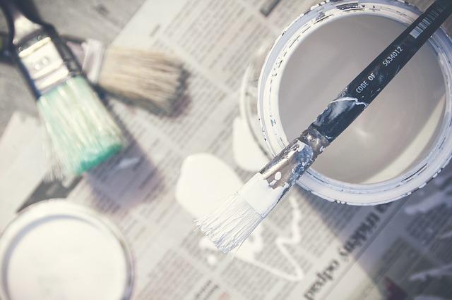 malowanie, farby, białe, pędzelki